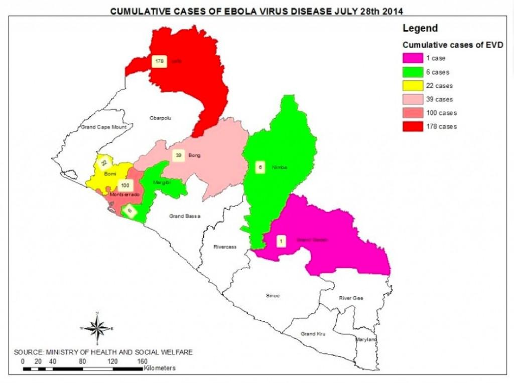 Ebola Cumulative map 7-28
