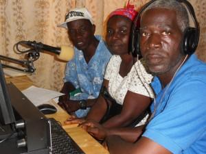 David and Esther Gargannah do Ebola and Abstinence radio program at ELWA studio